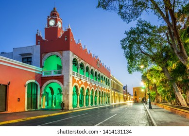 Merida, Mexico. Plaza Grande, downtown of spanish colonial city in Yucatan.