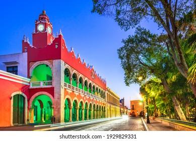 Merida, Mexico. Plaza Grande of spanish colonial city downtown in Yucatan.