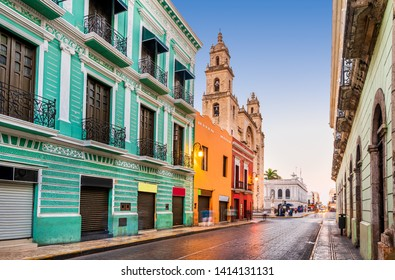 Merida, Mexico. San Idefonso cathedral in colonial city of Yucatan Peninsula.