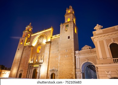 Merida San Ildefonso cathedral of Yucatan in Mexico