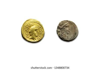 Merida, Spain - August 25th, 2018: Gaius Julius Caesar coins. Roman General and dictator. National Museum of Roman Art in Merida, Spain
