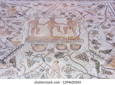 Merida, Spain - December 20th, 2010: Mosaic depicting three men treading grapes to make wine at Amphitheatre House. Merida, Spain