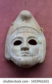 Merida, Spain - December 20th, 2017: Theatre mask in stucco at National Museum of Roman Art in Merida, Spain
