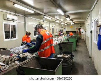 Merida, Spain - February 24, 2017: industry of recycling, selection of garbage for recycling workers