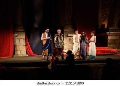 Merida, Spain - July 10, 2018: 64th Edition of the International Festival of classical theatre in Mérida. Nero, inspired by the famous novel Quo vadis?, Henryk Sienkiewicz