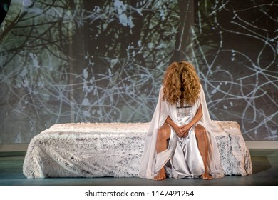 "Merida, Spain - July 31, 2018: 64th Edition of the International Festival of classical theatre in Merida. Performance of the play ""Fedra"" Greek classic"