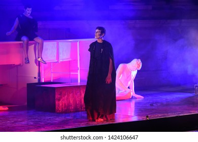 "Merida, Spain - June 09 , 2019 Emerita Ludica, representation history in Merida, Spain. Representation of the opera ""I, Claudius"" by Robert Graves at the Teatro Romano in Merida"