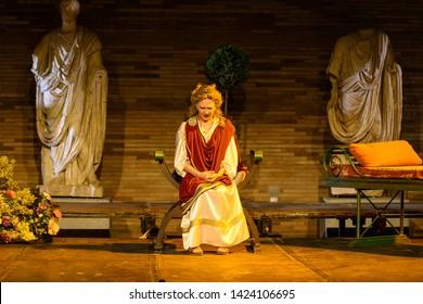 Merida, Spain - June 09 , 2019 Emerita Ludica, representation history in Merida, Spain. Representation of a tragedy at the National Museum of Roman Art in Spain