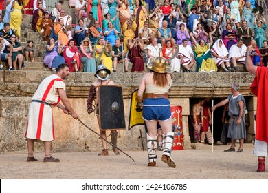 Merida, Spain - June 09 , 2019 Emerita Ludica, representation history in Merida, Spain.Representation of gladiator fights in Roman amphitheatre