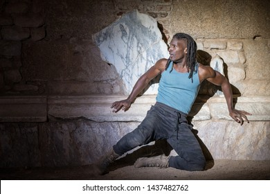 Merida, Spain - June 24, 2019: 65th edition of the International Classic Theater Festival of Mérida. Opera Samson and Delilah. Singer Noah Stewart represents Samson in a dramatic scene