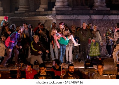 Merida, Spain - June 24, 2019: 65th Edition of the International Festival of classical theatre in Merida. Opera Samson and Delilah. Global scene of representation, with actors and extras