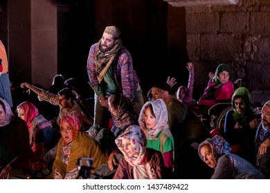 Merida, Spain - June 24, 2019: 65th Edition of the International Festival of classical theatre in Merida. Opera Samson and Delilah. Secondary actors and extras during the representation