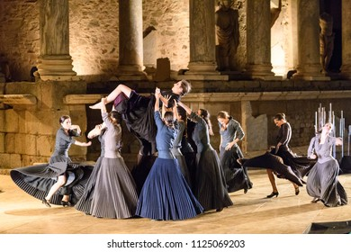 Merida, Spain - June 29, 2018: 64th Edition of the International Festival of classical theatre in Mérida, Representation for the National Ballet of Spain of the Electra classic.