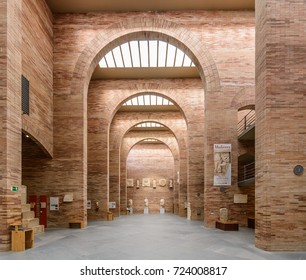Merida, Spain - September 13, 2017: National Museum of Roman Art MNAR, view of the main hall of the exhibition of archaeological remains