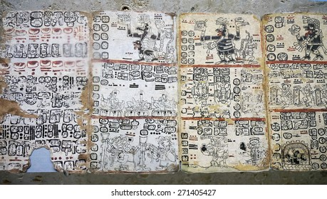 Merida, Yucatan Mexico, January 25, 2015:  Mayan Hieroglyphics panel on display at the Gran Museo del Maya Mundo in Merida Mexico.
