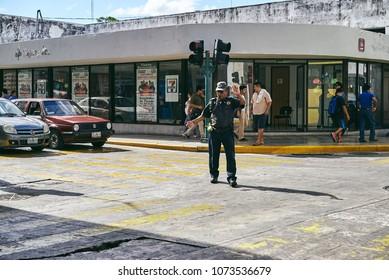 Merida / Yucatan, Mexico - June 2, 2015: The traffic police is working in the city center area of Merdia, Yucatan, Mexico