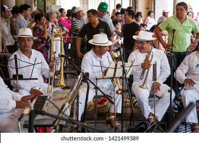 Merida, Yucatan/Mexico-September 2011: Traditional Musicians waiting to perform in downton Merida Yucatan.