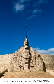 MERIDA-YUCATAN-MEXICO-NOVEMBER-2019: Monument to the homeland on a Sunday afternoon in the afternoon.