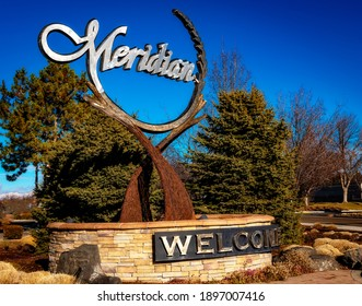 Meridian, Idaho, USA – January 10, 2021: Cool looking sign with the name of the town on it Meridian