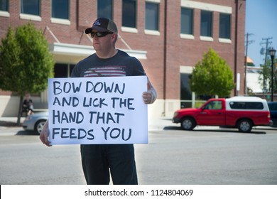 MERIDIAN, IDAHO/USA - JULY 30, 2016: Man protesting against the police during the Meridian Police department Rally