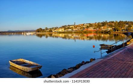 Merimbula lake, Merimbula a beautiful town on the south coast of NSW Australia, with wonderful climate fishing great beaches and national parks.