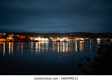 Merimbula Lake by Night with Reflections, Town in Focus