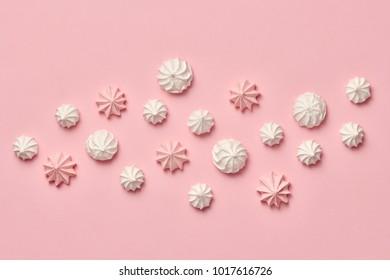 Meringue background. Pink Candies Sweets. Vanilla Pastel Color. Wedding bride set. Trendy fashion Style. Layout. Dessert. Minimal. Art
