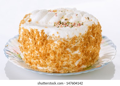meringue cake decorated with almonds