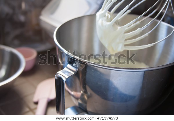 Meringue for french macaron whipped in a mixer