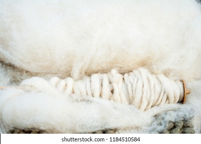 Merino sheep wool on a spinning wheel