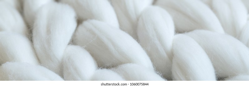 Merino wool knit handmade large blanket, macro shot, super chunky yarn, trendy concept, long banner