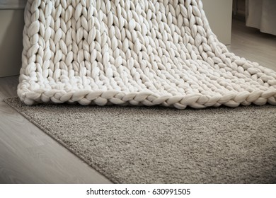 Merino wool knit handmade large blanket, super chunky yarn, trendy concept
