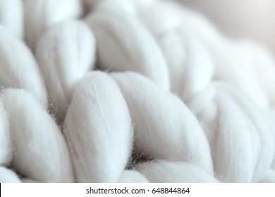 Merino wool knit handmade large blanket, super chunky yarn, trendy white texture