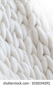 Merino wool knit handmade white large blanket, super chunky yarn, white texture trendy concept