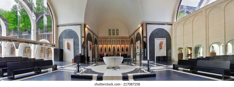MERITXELL,ANDORRA - JULY 28, 2014: Sanctuary of Meritxell. It is the work of the Catalan architect Ricard Bofill and was opened in 1976, in the parish of Canillo.
