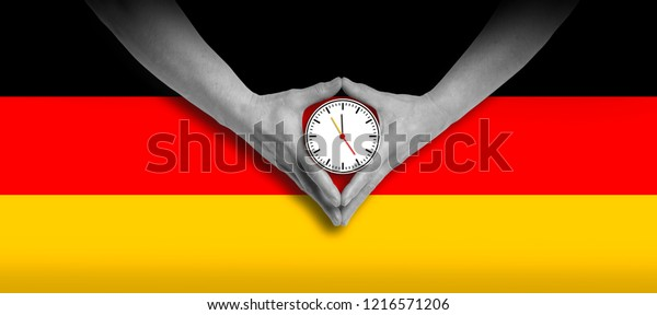 Merkel diamond hand gesture with german flag
