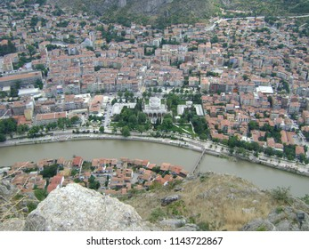 Merkez, Amasya, Turkey-July 2008. Beautiful top river views of Amasya. Soft focus, noise and blur are a part of the image.