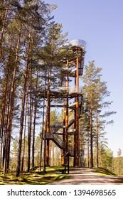 "Merkine observation tower ""Pušų gojelis"" -  26 m high landscape observation tower, located in Merkinė, on the right bank of the Nemunas. Lithuania"