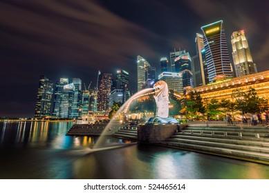 Merlion at night time , Singapore 16/10/2016