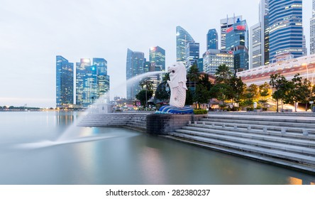 Merlion statue fountain in Merlion Park and Singapore city skyline ;SINGAPORE-Jan 30  2015