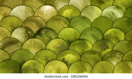 Mermaid Scales Watercolor Fish squame Green Grunge Background. Magic forest pattern wallpaper