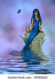 Mermaid sitting on a pedestal with cattails and butterfly