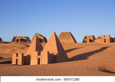 Meroe pyramids at sunrise. Meroe, Sudan.