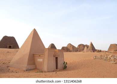 Meroe/Sudan - January 7, 2019: Pyramids of old sudanis pharaons.