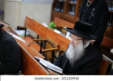 MERON, ISRAEL - Dec 12, 2017: Admor of Nadvorna/Nadvorna Rebbe of Safed/Tzfat, learns Torah in Meron at the gravesite of Rabbi Shimon Bar Yochai
