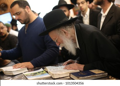 MERON, ISRAEL - Dec 20, 2017: Rabbi Shimon Galai prays at the gravesite of Rabbi Shimon Bar Yochai in Meron while visiting