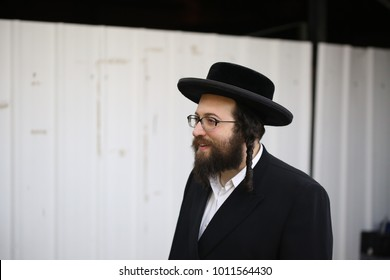 MERON, ISRAEL - Dec 5, 2017: Rabbi Aharon Roth, Rosh Yeshiva of Tiferes HaTorah Breslov in Williamsburg, NY, visits the grave of Rabbi Shimon bar Yocha in Meron to pray while in Israel