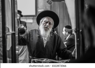 MERON, ISRAEL - JUL 16, 2017: Rabbi Meir Stern, Rabbi of Meron, Israel, prays at the gravesite of Rabbi Shimon Bar Yochai