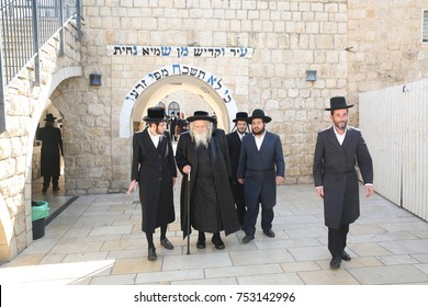 Meron ,Israel, July 5 2017- Jewish Grand Rabbi of the Dzirka dynasty With his  group of Chassidim, Visit the grave of Rabbi Shimon Bar Yochai in Meron morning prayer where Jewish people