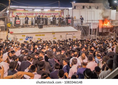 MERON, ISRAEL - MAY 03, 2018: A crowd of orthodox Jews attend and dance, and musicians play, at the annual hillula of Rabbi Shimon Bar Yochai, in Meron, Israel, on Lag BaOmer Holiday